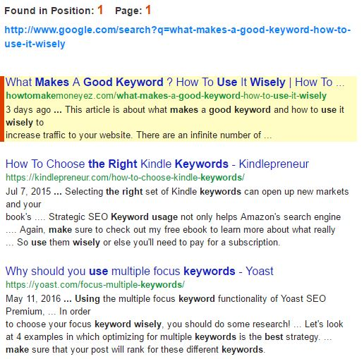 Google page 1 position 1