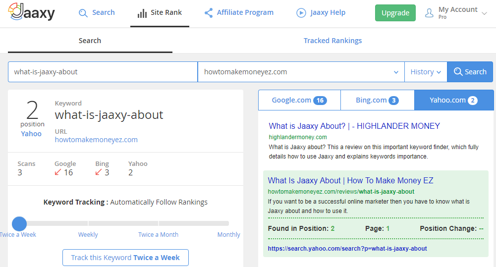 Jaaxy site rank feature