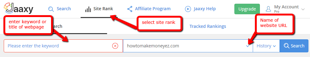 Jaaxy keyword tool site rank